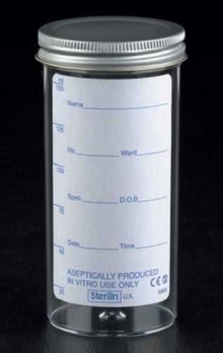 Urine Container 150ml printed lbl, metal cap x120