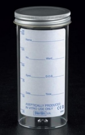 Urine Container 150ml printed lbl, metal cap x120