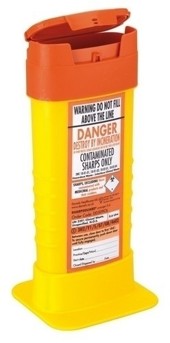 Sharps Bin - 0.6 lts - Orange Lid