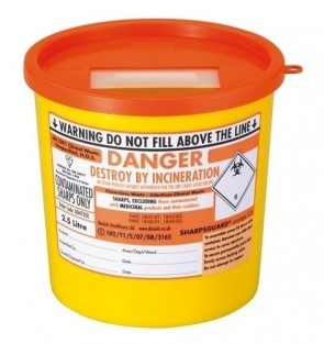 Sharps Bin - 2.5 lts - Orange Lid
