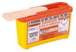 Sharps Bin - Community Plus 1Ltr - Orange Lid