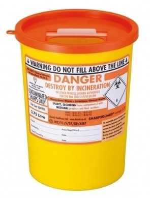 Sharps Bin - 3.75 Ltrs - Orange Lid