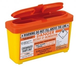 Sharps Bin - Small 1 Ltr - Orange Lid