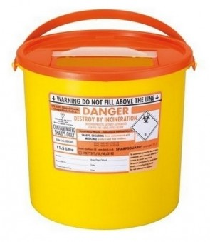 Sharps Bin - Large  11.5 Litre - Orange Lid