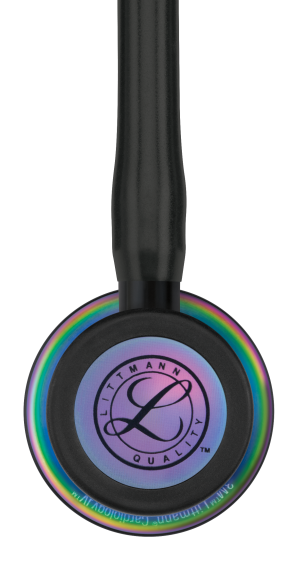 3M Littmann Cardiology IV Stethoscope, RAINBOW EDITION (Rainbow-Finish Chestpiece, Black Tube), 6165